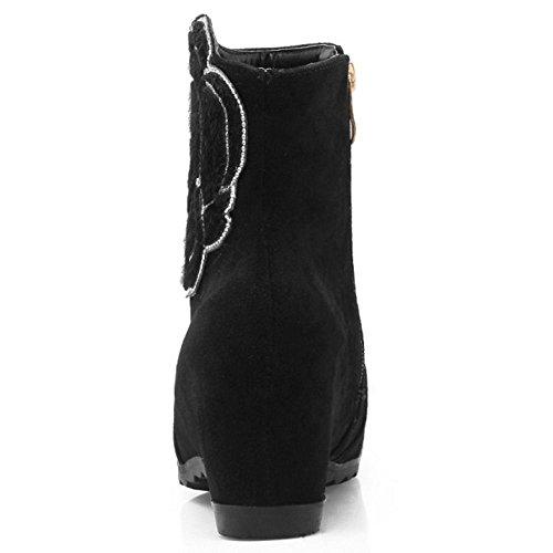 COOLCEPT Women's Wedges Heels Flower Dress Ankle High Boots Black qYr2RsiTFD