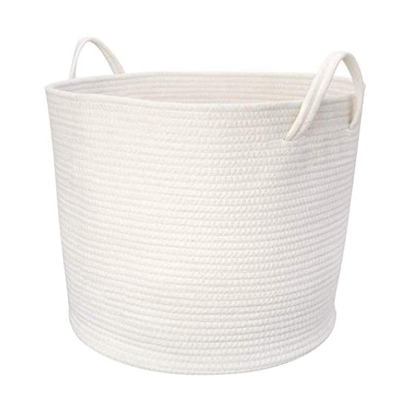 Mkono Cotton Rope Storage Basket | Woven Laundry Basket for Blankets | Toys Storage Basket with Handles | 17″Lx16″Wx14″H Large Home Decorative Organizer Bins for Baby Nursery, Off White