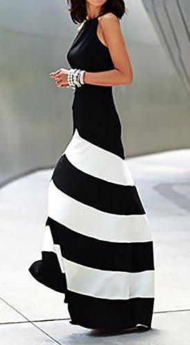 online retailer 93abe 6b8d3 HX fashion Donna Vestiti Tubino Eleganti da Cerimonia Lunghi Estivi  Cerimonia Vintage Bianco E Nero A Strisce Impero Festa Cocktail Vestito  Abito ...