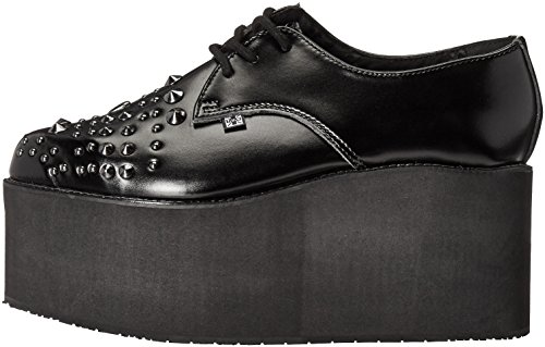 Women's k Studded Leather Pointed T Stacked Black u Shoes Platform wq7n1t