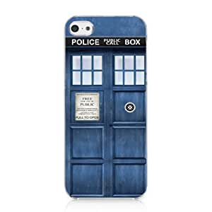 CRHK? Doctor Who Tardis Blue Police Call Box Pattern Clear Back Skin Snap on Case Cover for 2013 Apple iPhone 5C + Screen Protector + CRHK stylus hjbrhga1544