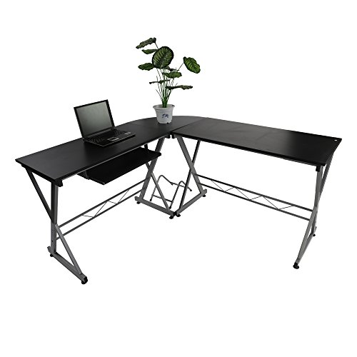 Teekland L-shaped Concise Corner Computer Desk Laptop PC Table X Shape Steel Frame Table Wooden Desktop Home Office (L-shaped Black C) by Teekland