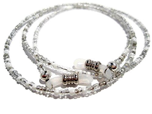 ATLanyards Silver and White Beaded Eyeglass Holder- Silver and White Eyeglass Holder Chain (Silver Beaded Eyeglass)