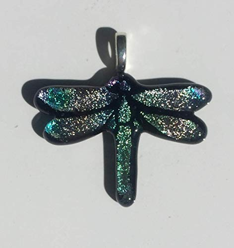 Blue, Purple and Green Dragonfly Laser Engraved Etched Dichroic Fused Glass ()