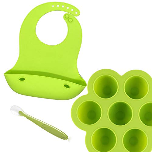 Silicone Bibs and Baby food storage container freezer Tray with silicone lid for babies BUNDLE!