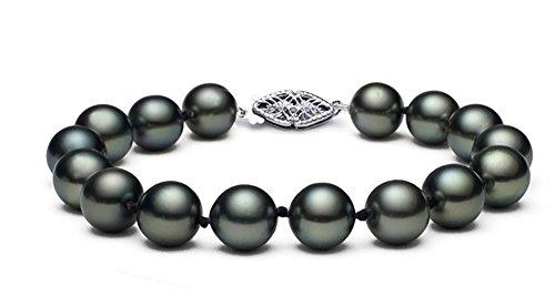 (8-11mm 14k White Gold Black Tahitian Cultured Pearl Bracelet, 7.5
