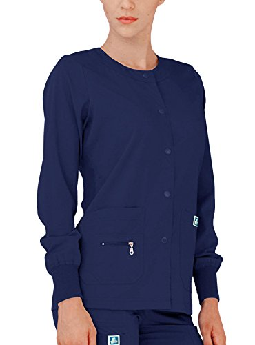 Adar Indulgence Womens Jr Fit Multi Pocket Warm-Up Scrub Jacket - 4216 - Navy - XXS -