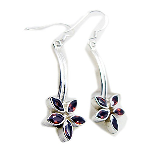 Natural Garnet Earrings For Women Sterling Silver Fashion Jewelry Long Hook Marquise Shape Flower Style