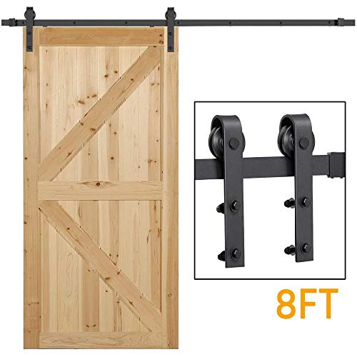 Yaheetech 8Ft Sliding Barn Door Hardware Kit Set Heavy Duty Sturdy Single Barn Door Track Antique Style Closet System Black (Style Shutter Closet Doors)