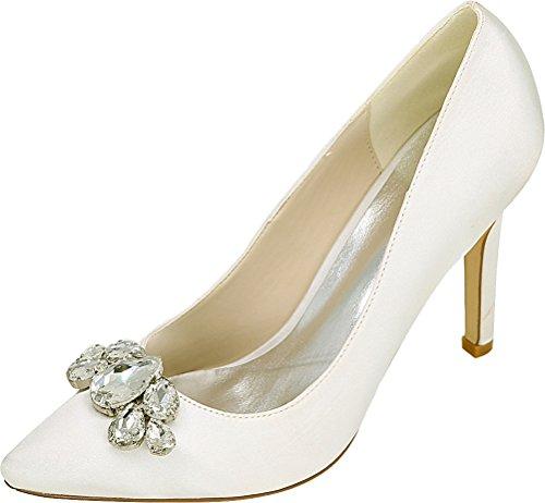 Cour Ivory 5 Heeled Comfort Nightclub 37 PU Ladies Pointed Pumps 0608 01B OL Work Shoes Job EU Bride Wedding Toe wWa8SU68qP