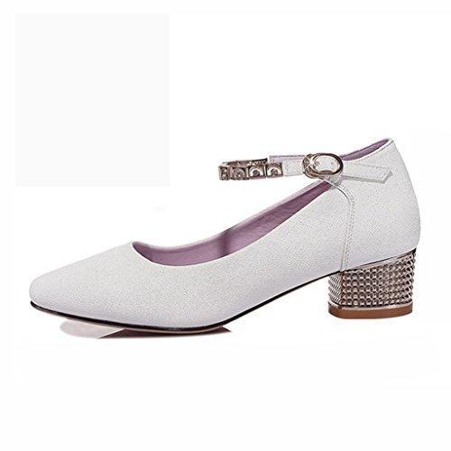 Zapatos para mujer HWF Primavera Poco Profunda Puntiagudo (Color : Blanco, Tamaño : 36) Blanco