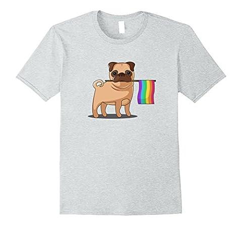 Mens Gay Pride Flag Pug T-Shirt - LBGT Pride Shirt XL Heather Grey - Gay Pride Dog T-shirt