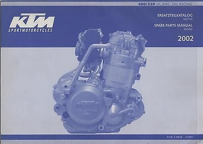 2002 Spare Parts Manual (Chassis) - 400/520 SX, MXC, EXC Racing (KTM)
