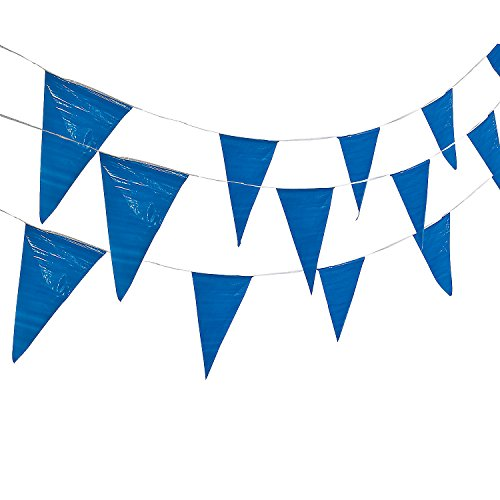 - Fun Express - Blue Pennant Banner (100ft) - Party Decor - Hanging Decor - Pennants - 1 Piece