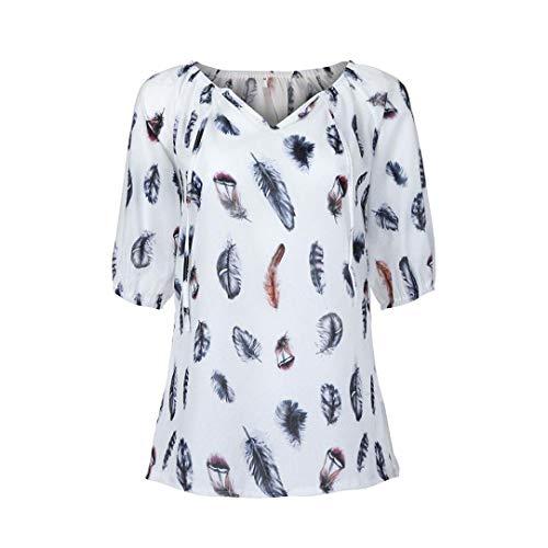 Clearance Women Plus Size Shirt LuluZanm Half Sleeve V-neck Blouse Pullover Feather Print Tops Shirt