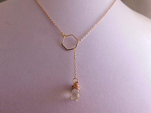 Lemon Quartz Gold Lariat Necklace * Yellow Gemstone Necklace * Faceted Lemon Quartz Geometric Necklace * Lemon Quartz Briolette * -