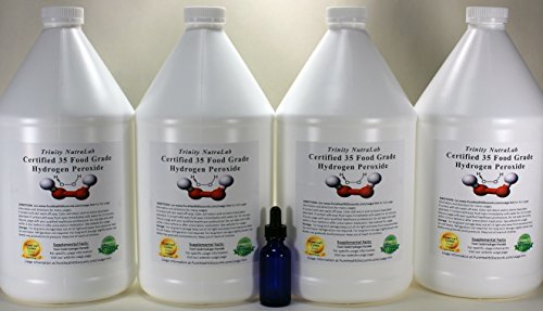 4 Gallons TNL Certified 35% Food Grade Hydrogen Peroxide + Free Real Blue Cobalt Dropper Bottle. Shipped Fast. by Trinity NutraLab