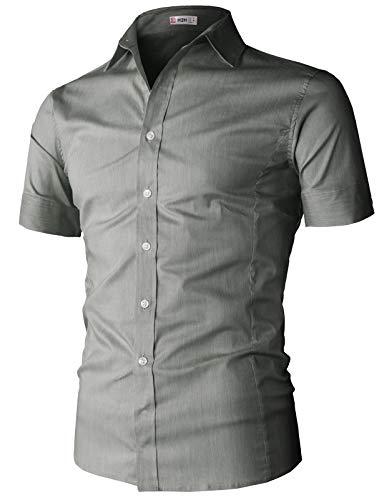 H2H Mens Basic Fashion Dressy Short Sleeves Shirt Darkgray US M/Asia L (KMTSTS0133)