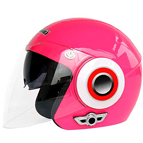 Shfmx Girl/Ladies Motorcycle Bluetooth Helmet, Motorcycle Open Face Helmet, Music 80 Hours/Hands Free/No Noise/Multifunction, Travel/Off-Road Helmet 58-62CM