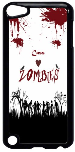 """Rikki KnightTM """"Cass"""" Loves Zombies on Red Grunge Personalized with Name Design iPod Touch Black 5th Generation Hard Shell Case"""
