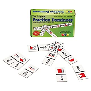 LEARNING ADVANTAGE - 4080 Learning Advantage The Original Fraction Dominoes - in Home Learning Fraction Game - 45 Dominoes - Math Manipulative for Kids - Teach Equivalents, Adding and Subtracting Fractions