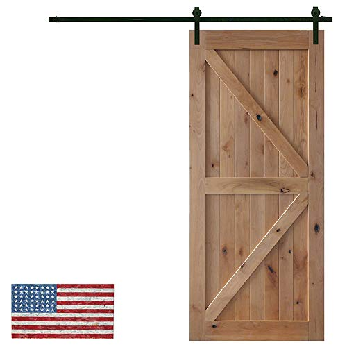 Made in U.S. Heavy Duty Sturdy Sliding Barn Door Slab - Unfinished Natural Solid Knotty Pine Interior Barn Wood Closet Door Panels 36 / 42inch x 84inch Fit Sliding Barn Door Hardware Kit 6.6ft / 7.2ft