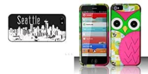 Combo pack Cellet Black Proguard with Seattle for Apple iPhone 5 And For iPhone 5 - Rubberized Design Cover - Owl