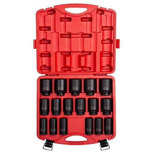 Sunex 4685, 3/4 Inch Drive Deep Impact Socket Set, 17-Piece, SAE, 1