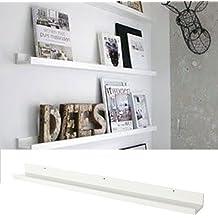 Wallniture Denver Modern Design Floating Picture Display Ledge Wall Mount Shelf 46 Inches White