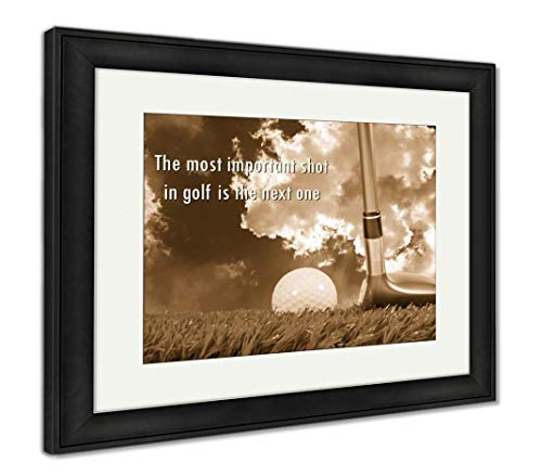 (Ashley Framed Prints Golf Ball and Fairway Wood On Grass and Quote, Wall Art Home Decoration, Sepia, 30x35 (Frame Size), Black Frame, AG5857645)