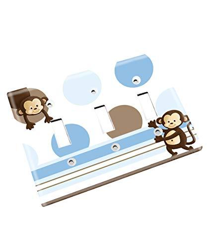 Blue Brown Pop Monkey Single Light Switch Cover Boys Bedroom Single Light Switch Cover LS0010 (Triple Standard)