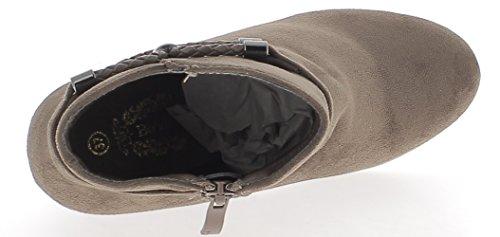 talon cm daim de Bottines compensées look 5 doublées taupe à 8 CxCqtaw
