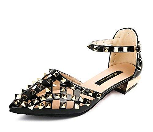 YEEY Zapatos cerrados para mujer primavera autom tobillo correa de tacón alto talón sandalias remaches trabajo banquete negro Black