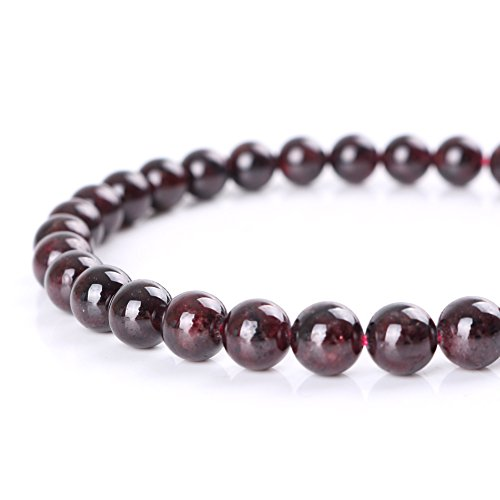 Mallofusa Garnet Gemstone Loose Beads Artificial Round 8mm Crystal Energy Stone Healing Power for Bracelets Jewelry Making Best Gift Idea- Dark Red (Making Garnet Jewelry Beads For)