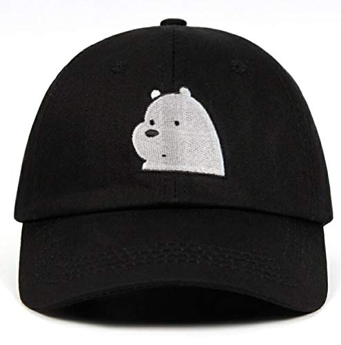 100% Cotton Ice Bear Grizzly Panda Embroidery We Bare Bears Dad Hat Baseball Caps Anime Polar Bear Hats Black (The Difference Between Grizzly Bears And Pandas)