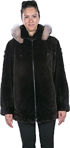 Oliverfurs Women's Sheared Beaver & Crystal fox Fur Coat 10-12 Brown