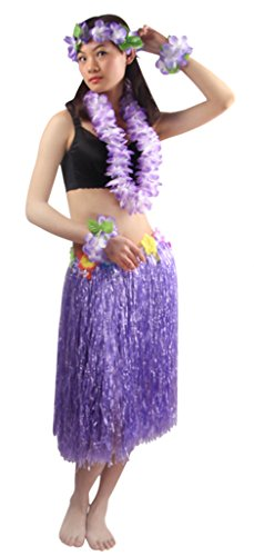 Luau Outfits For Adults (Good Quality 5pcs/ set Adult Hawaiian Luau 60cm purple grass hula skirt)