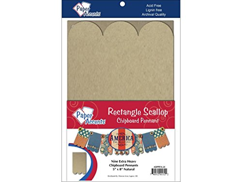 Accent Design Paper Accents ADPPEN.23 Rect Scallop 5x8 Natural Chipboard Chip Pennant ()