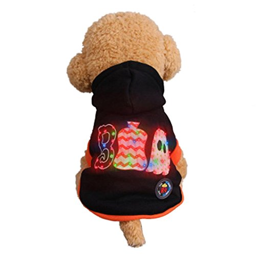 Dog Clothes, Gotd Pet Puppy LED Light Hoodies Sweater Jacket Shirt Costumes Vintage Halloween Decorations Supplies (L, Black) Review