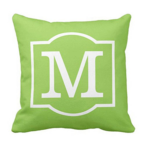 Newhomestyle Throw Pillow Cover Monogrammed Lime Green and White Decorative Pillow Case Home Decor Square Cushion Pillowcase 18x18 inches