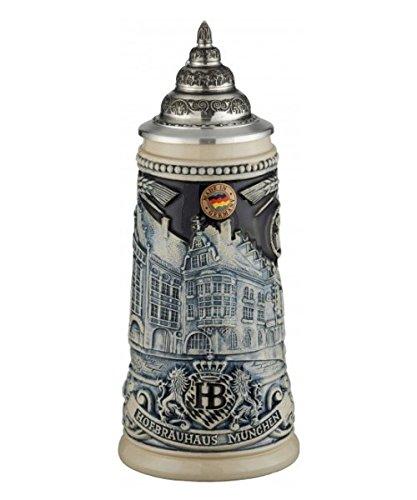 (German Beer Stein Munich Hofbräuhaus München HB relief stein 0.25 liter tankard, beer mug King Werk KI 1000177)