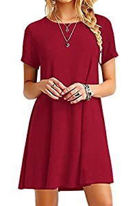 YMING Women Loose Short Sleeve Casual Dress A Line Swing Simple Multicolor Mini Dress