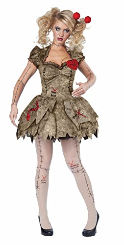 Rag Doll Costume Makeup (Creepy Voodoo Outfit Halloween Rag Doll Costume Adult Women)
