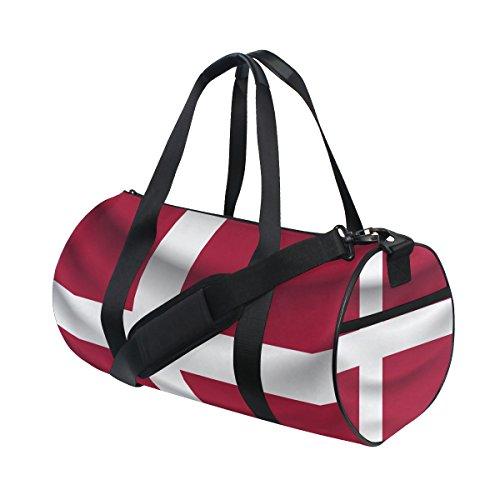Denmark Flag Travel Duffel Shoulder Bag ,Sports Gym Fitness Bags