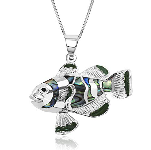 (Honolulu Jewelry Company Sterling Silver Abalone Paua Shell Clownfish Necklace Pendant with 18