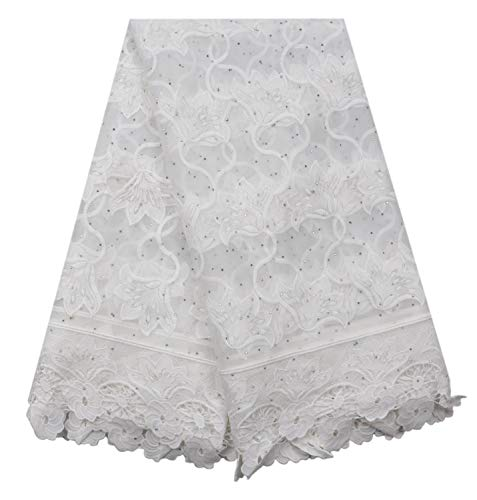 SanVera17 Water-Soluble Lace Glitter Stone African Lace Net Milk Silk Fabrics Nigerian Fabric Embroidered and Guipure Cord Lace for Party Wedding (White) 5 Yards (Fabric Milk)
