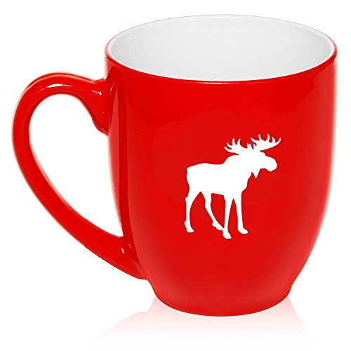 16 oz Large Bistro Mug Ceramic Coffee Tea Glass Cup Moose (Red)