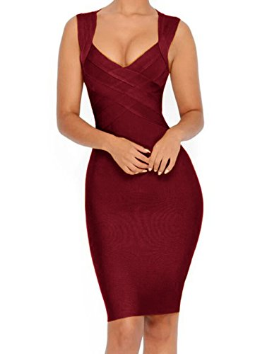 - Whoinshop Women's V-Neck Strapless Clubwear Bodycon Bandage Dress (L, Wine)