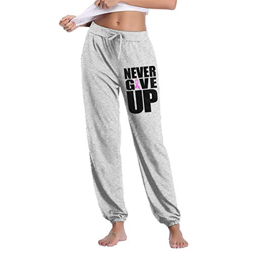 YOOJPC-6 Women's Never Give Up Breast Cancer Awareness Pink Ribbon Sweatpants with Pockets Yoga Jogger Pants
