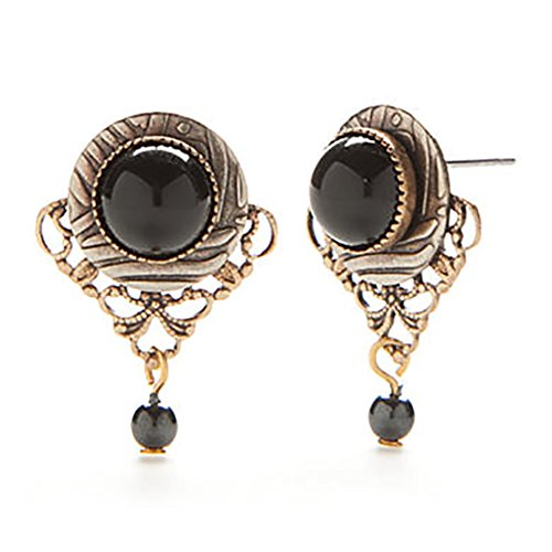 Silver Forest Earrings -black onyx in frame w/filigree Filigree Forest Frame